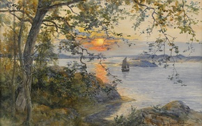 Picture the evening, Anna Gardell-Ericson, Coastal landscape with a sailing boat in the sunset