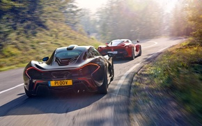 Wallpaper McLaren, Ferrari, Red, Sky, Power, Speed, Black, Sun, Supercars, Road, LaFerrari, Rear, Skid, Lead, Moutian
