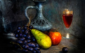 Picture wine, pitcher, fruit, The empty vessel