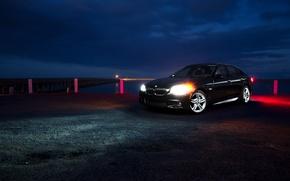 Picture night, glare, shore, BMW, BMW, pierce, black, black, front, F10, 5 Series
