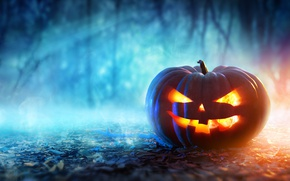 Wallpaper halloween, pumpkin, evil face
