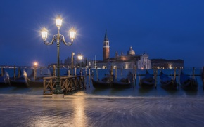 Picture night, the city, boats, lighting, lights, Italy, Venice, channel, Italy, gondola, Venice, Piazza San Marco, …