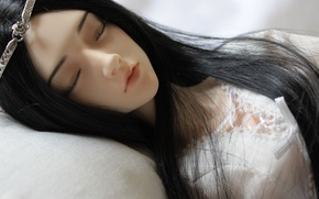Picture girl, doll, crown, sleeping, BJD