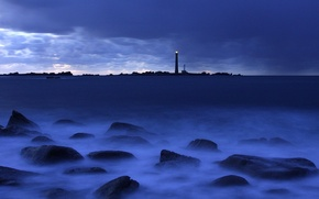 Wallpaper sea, blue, lighthouse, Stones