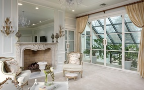Picture white, design, window, chairs, fireplace, living room, greenhouse