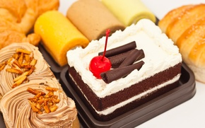 Picture cherry, chocolate, sweets, cake, cake, cherry, cream, dessert, cakes, croissants, rolls