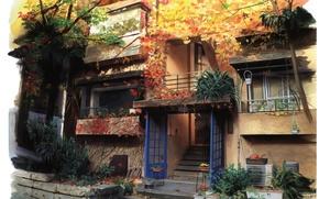 Picture autumn, trees, house, plants, Japan, ladder, porch, entrance, balconies, by Kusanagi