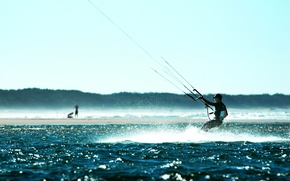 Picture water, sport, parachute, athlete, Surfing, The Wind Lake Erie