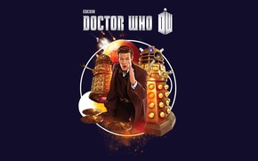 Picture look, background, fiction, planet, logo, costume, actor, male, jacket, runs, Doctor Who, spaceships, Doctor Who, ...