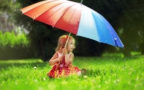 Picture grass, trees, nature, umbrella, child, polka dot, dress, girl