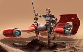 Picture girl, desert, figure, art, glasses, costume, helmet, pilot, rifle, aircraft