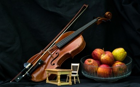 Picture music, violin, apples