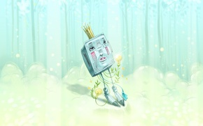 Wallpaper picture, Miriam Moshinsky, robot, forest