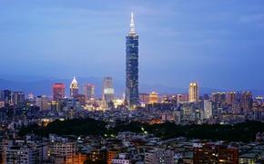 Picture blue hour, cityscape, Taiwan, Taipei, Taipei 101