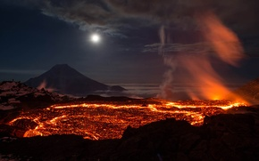 Picture lava, disaster, the eruption of the volcano