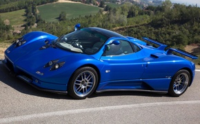 Picture blue, background, Pagani, Zonda, the front, supercars, Pagani, Probe