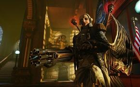 Picture weapons, people, monster, flag, machine gun, America, BioShock Infinite