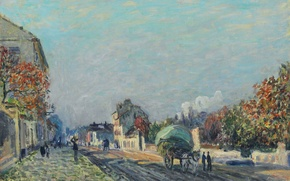 Picture trees, landscape, the city, home, picture, wagon, Alfred Sisley, Street in Marly