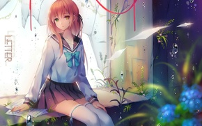 Wallpaper grass, drops, stockings, window, schoolgirl, vocaloid, sheets, art, broken, letter, different eyes, sailor, Tidsean, Niya