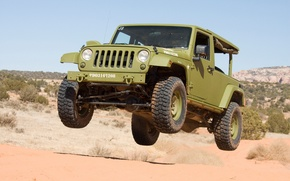 Picture jeep, SUV, USA, flies, army, Wrangler, Jeep, two-door version, hovering above the ground, J8 Sarge