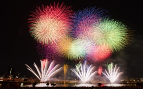 Picture night, the city, lights, salute, Japan, Tokyo, fireworks