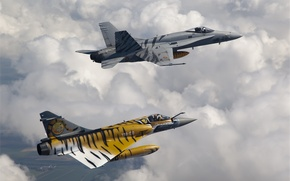Picture The sky, Clouds, Flight, Fighter, Height, 2000, F/A-18, Multipurpose, Mirage, Fourth, Generation, Douglas, French, Deck, …