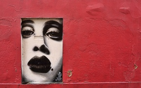 Picture wall, face, girl, graffiti, cracked