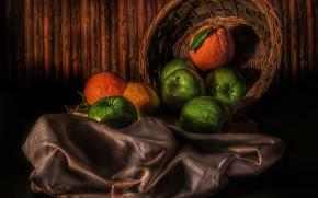 Wallpaper lemon, apples, oranges, Fruit basket