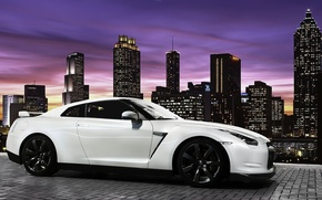 Picture the city, the evening, Nissan GTR