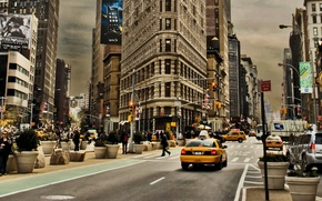 Picture people, street, home, advertising, traffic light, taxi, New York
