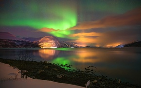 Picture the sky, stars, mountains, night, shore, Northern lights, Aurora Borealis
