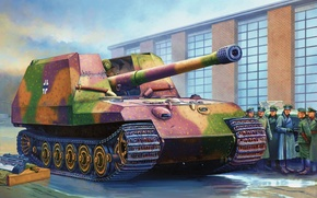 Picture war, art, painting, tank, ww2, GW Tiger prototype
