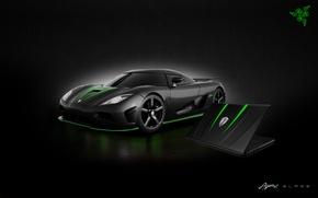 Picture Auto, Green, Black, Logo, White, Wallpaper, Hi-Tech, Razer Blade, Koenigsegg Agera R