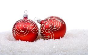 Wallpaper snow, holiday, balls, new year, Christmas, red, white background, christmas, new year, Christmas decorations