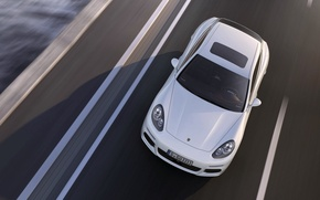 Picture Auto, White, Porsche, Machine, Asphalt, The hood, Panamera, Sedan, Lights, Porsche, The view from the …