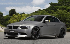 Picture the sky, clouds, trees, black, bmw, BMW, silver, drives, side view, e92, silvery