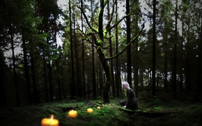 Picture forest, girl, candles