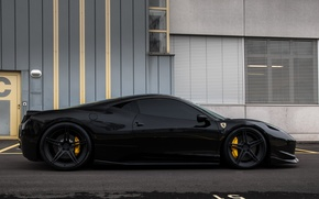 Picture black, the building, Windows, profile, wheels, ferrari, Ferrari, drives, black, Italy, 458 italia, tinted
