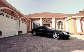 Wallpaper black, Windows, Mercedes-Benz, garage, black, mansion, Mercedes Benz, CL500, C215, CL-class