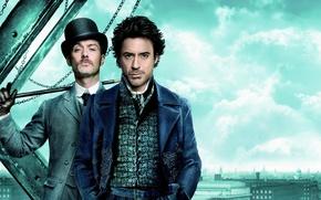 Wallpaper Jude Law, hat, Robert Downey Jr., Sherlock Holmes, Dr. Watson, detective, London, cane, Sherlock Holmes, ...