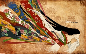 Picture flowers, tape, pattern, Japan, fabric, kimono, long hair, closed eyes, youkai, Spirit of the Colors