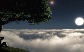 Picture the sky, stars, the moon, view, haze