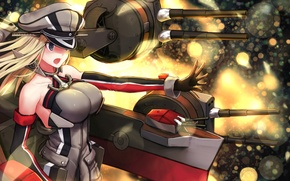 Picture chest, girl, weapons, fire, gesture, art, kantai collection, yilan, bismarck battleship