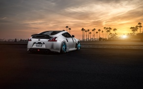 Picture Nissan, Sunset, White, 370Z, Stance, Garage, Before, Rear