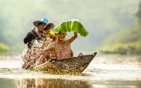 Picture children, sheet, river, boat, laughter, Vietnam, river, smile, high quality, boys, boys, boat, children, swimming, …