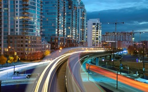 Picture road, the city, lights, construction, train, home, crane, the evening, excerpt, Canada