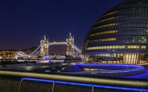 Picture light, night, river, England, London, UK, railings, Thames, Tower bridge, Tower Bridge, London, England, Thames, …