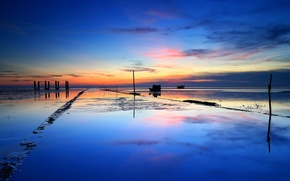 Picture sea, the sky, clouds, sunset, boat, tide