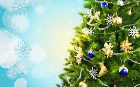 Picture decoration, snowflakes, branches, glare, background, holiday, balls, toys, tree, New year, Christmas