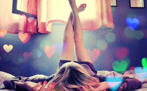 Wallpaper color, room, feet, heart, Girl, window, bed, hearts, curtains, jacket